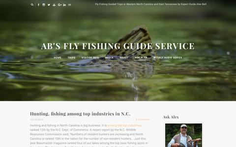 Screenshot of Blog abfish.org - AB's Fly Fishing Guide Service - Fly Fishing Blog Tips and Events - captured Feb. 4, 2016