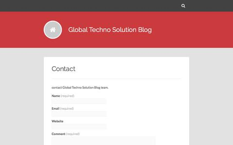 Screenshot of Contact Page globaltechnosolution.com - Contact – Global Techno Solution Blog - captured July 14, 2016