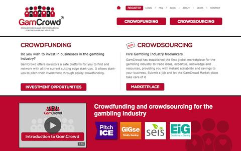 Screenshot of Home Page gamcrowd.com - equity crowdfunding UK, crowdfunding UK, investment, how do I raise funds for my start up? Crowd sourcing UK - GamCrowd - captured July 19, 2015