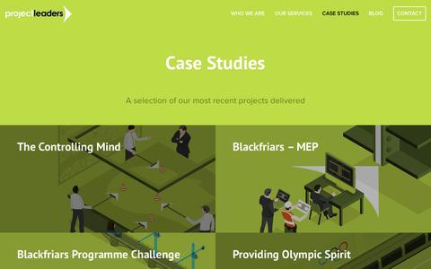 Screenshot of Case Studies Page projectleaders.co.uk - Case Studies |  Project Leaders - captured Sept. 30, 2018