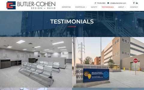 Screenshot of Testimonials Page butlercohen.com - Testimonials – Butler-Cohen | Design + Build - captured Nov. 13, 2018