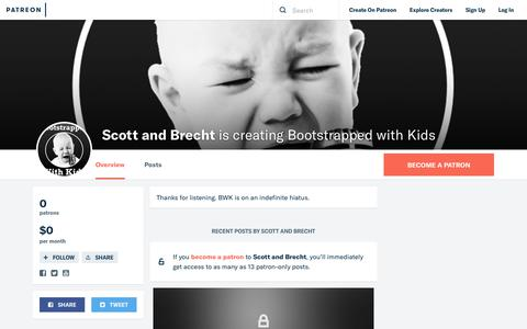 Screenshot of Support Page patreon.com - Scott and Brecht is creating Bootstrapped with Kids   Patreon - captured Nov. 6, 2018