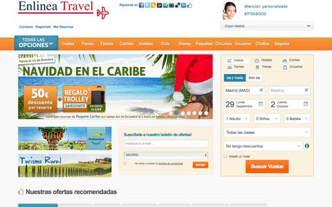 Screenshot of Home Page enlineatravel.com - Ofertas de viajes. vuelos low cost, hoteles, cruceros. - captured Sept. 30, 2014