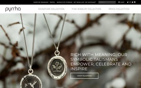 Screenshot of Home Page pyrrha.com - Meaningful Handcrafted Talisman Jewelry | Pyrrha - captured Dec. 22, 2018