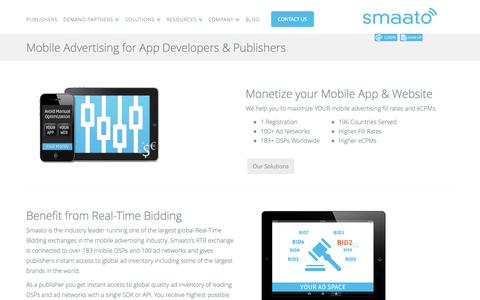 Screenshot of Developers Page smaato.com - Mobile Advertising for Mobile Apps - captured Sept. 17, 2014