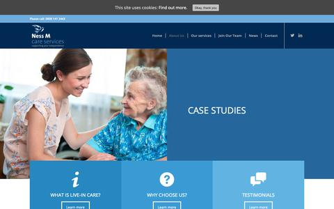 Screenshot of Case Studies Page nessmcareservices.co.uk - Case studies - Ness M Care Services - captured Dec. 10, 2018