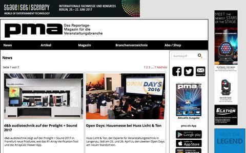 Screenshot of Press Page pma-magazin.de - PMA: News - captured March 28, 2017