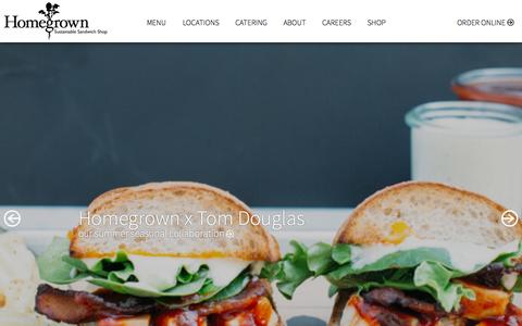 Screenshot of Home Page eathomegrown.com - Homegrown Sustainable Sandwich Shop - captured Sept. 18, 2015