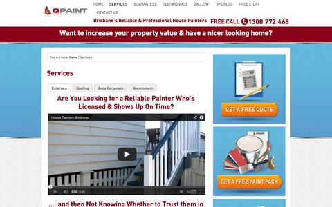 Screenshot of Services Page qpaint.com.au - Qpaint painters offer quality Painting services to the Brisbane area - captured Sept. 27, 2014