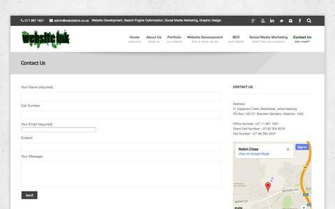 Screenshot of Contact Page websiteink.co.za - Contact Website Ink Agency JohannesburgWebsite Ink : Website Development Agency - captured Sept. 26, 2014