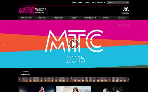 Screenshot of Home Page Menu Page mtc.com.au - Melbourne Theatre Company - captured Oct. 1, 2014