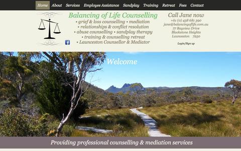 Screenshot of About Page balancingoflife.com.au - Balancing of Life | Jane Oakley-Lohm | Launceston | Counsellor - captured Oct. 5, 2014