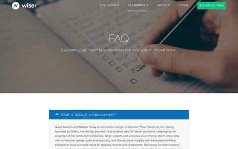 Screenshot of FAQ Page wiser.com - FAQ | Wiser - captured Sept. 28, 2017