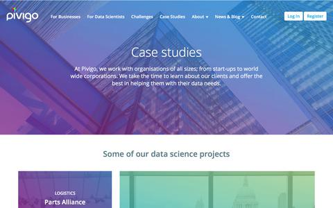 Screenshot of Case Studies Page pivigo.com - Pivigo - The Data Science Hub - captured Sept. 20, 2017