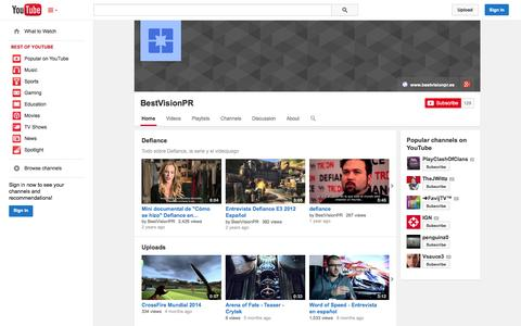 Screenshot of YouTube Page youtube.com - BestVisionPR  - YouTube - captured Oct. 23, 2014