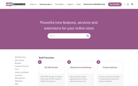 Screenshot of Products Page woocommerce.com - WooCommerce Products Extensions - captured March 18, 2017