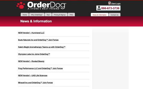 Screenshot of Press Page orderdog.com - News & Information - Order DogOrder Dog - captured Oct. 19, 2017