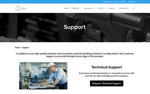 Screenshot of Support Page customindprod.com - Support | Custom Industrial Products - captured Feb. 25, 2018
