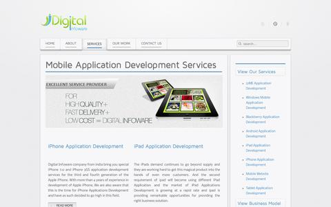 Screenshot of Services Page digitalinfoware.co.in - Mobile Application Development Services by Digital Infoware - captured Oct. 5, 2014