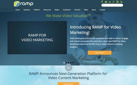 Screenshot of Home Page ramp.com - RAMP - We Make Video Valuable - captured Sept. 17, 2014