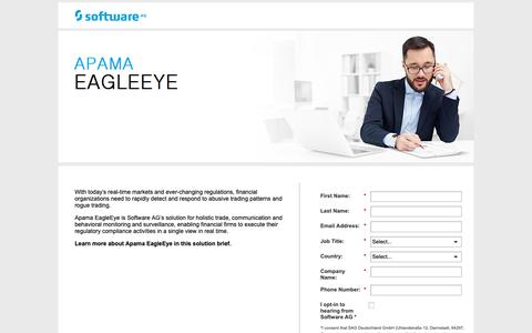 Screenshot of Landing Page softwareag.com - Market Surveillance - captured Oct. 17, 2018
