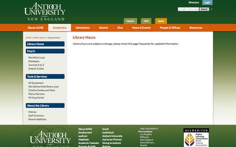 Screenshot of Hours Page antiochne.edu - Library Hours - captured Oct. 4, 2014