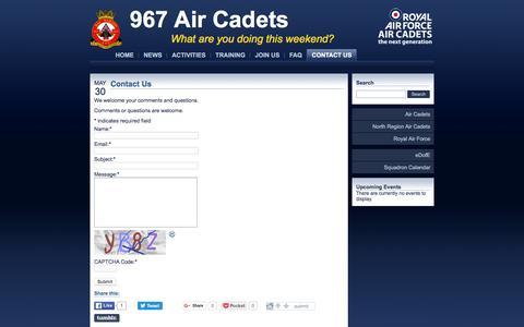 Screenshot of Contact Page 967atc.co.uk - Contact Us - 967 Air Cadets - captured June 10, 2016