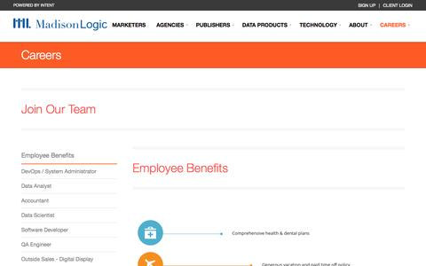 Screenshot of Jobs Page madisonlogic.com - Careers | Madison Logic - captured Sept. 16, 2014