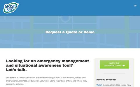 Screenshot of Contact Page crisis360.com - Get Pricing, Quote, Demo - Crisis360 Emergency Management - captured Aug. 1, 2017