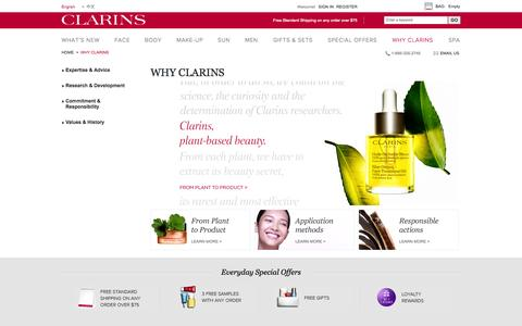 Screenshot of About Page clarinsusa.com - WHY CLARINS - captured Sept. 19, 2014