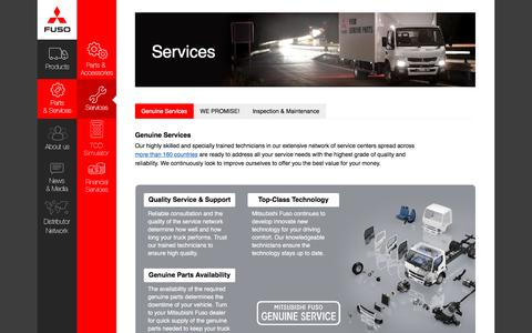 Screenshot of Services Page mitsubishi-fuso.com - Services | Mitsubishi Fuso - captured Sept. 28, 2016