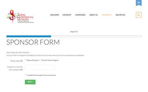 Screenshot of Support Page sydneycontemporaryorchestra.org.au - SPONSOR FORM - captured Dec. 13, 2016