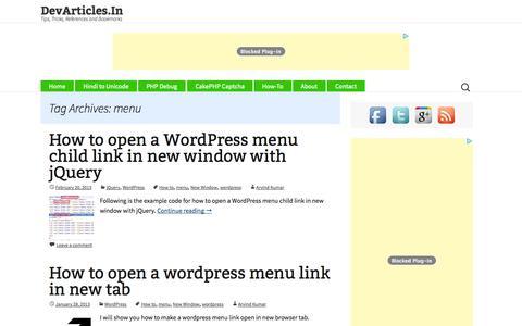 Screenshot of Menu Page devarticles.in - menu Archives - DevArticles.In - captured Oct. 30, 2014