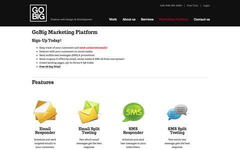 Screenshot of Trial Page gobigweb.com - GoBig Marketing Platform | GoBig - captured Sept. 26, 2014