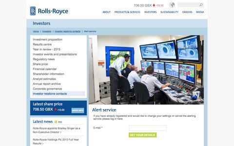 Screenshot of Signup Page rolls-royce.com - Alert service – Rolls-Royce - captured March 9, 2016