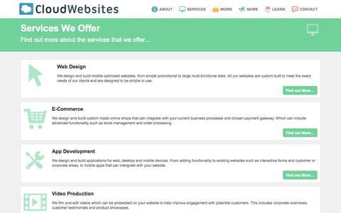 Screenshot of Services Page cloudwebsites.com - Services we offer - Web Design, E-Commerce, App Development, Video Production – Cloud Websites - captured Oct. 28, 2014