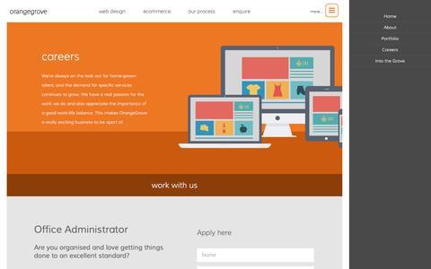 Screenshot of Jobs Page orangegrovedesigns.co.uk - Careers in Web Design | OrangeGrove - captured Aug. 13, 2016