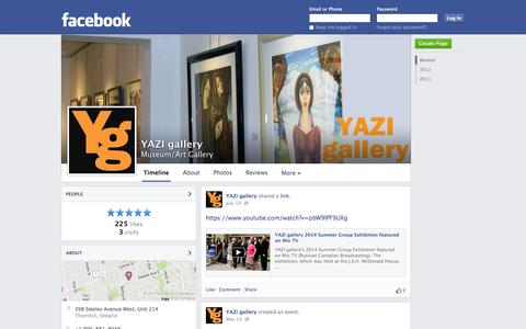 Screenshot of Facebook Page facebook.com - YAZI gallery - Thornhill, ON - Museum/Art Gallery | Facebook - captured Oct. 23, 2014