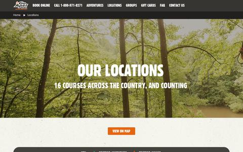 Screenshot of Locations Page goape.com - Locations - captured July 21, 2018