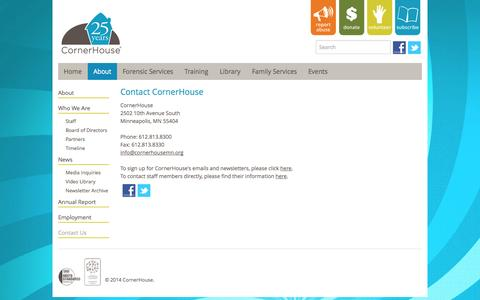 Screenshot of Contact Page cornerhousemn.org - Contact CornerHouse - captured Oct. 3, 2014