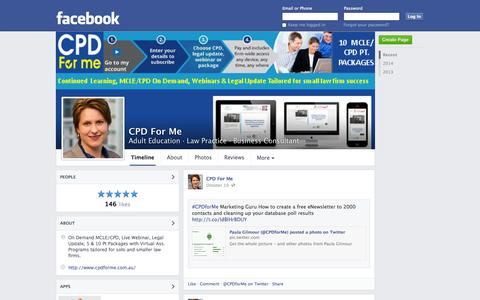Screenshot of Facebook Page facebook.com - CPD For Me - Sydney, Australia - Adult Education, Law Practice | Facebook - captured Oct. 22, 2014
