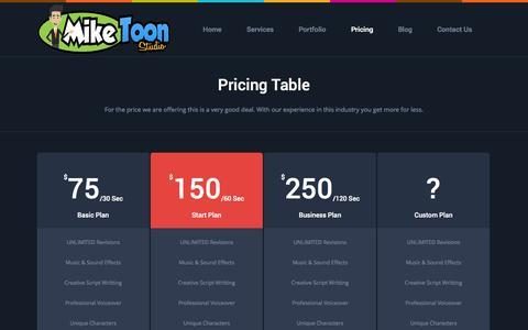 Screenshot of Pricing Page miketoonstudio.com - MikeToon Studio |   Pricing Table - captured Nov. 5, 2014