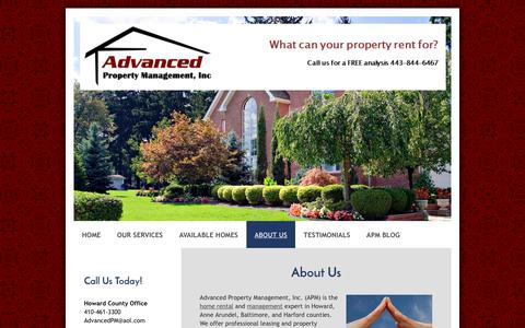 Screenshot of About Page advancedrent.com - About Us - Advanced Property Management, Inc. - captured Nov. 20, 2016