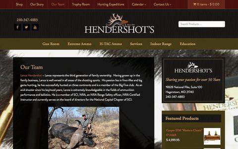 Screenshot of Team Page hendershots.net - Our Team - Hendershot's Sporting Goods, Inc. - captured Jan. 28, 2016