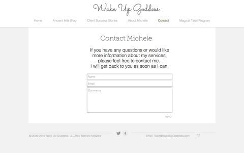Screenshot of Contact Page wakeupgoddess.com - contact - captured Dec. 17, 2016