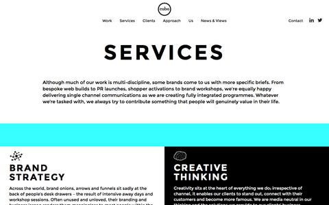 Screenshot of Services Page cubo.com - Our Services | Strategy | Creative | Integrated Marketing - captured Feb. 1, 2016