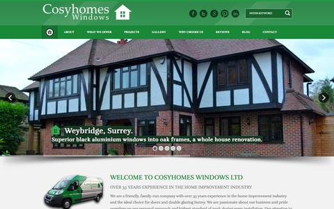 Screenshot of Home Page cosyhomeswindows.com - Cosyhomes Windows - Doors & Double Glazing Surrey - captured Jan. 21, 2015