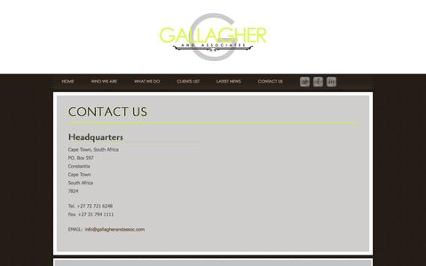 Screenshot of Contact Page gallagherandassoc.com - Contact Us / Gallagher and Associates - captured Jan. 31, 2016