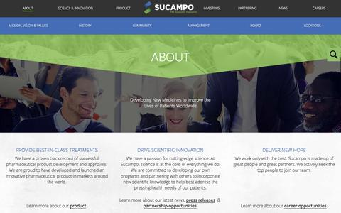 Screenshot of About Page sucampo.com - About «  Sucampo - captured Feb. 22, 2016