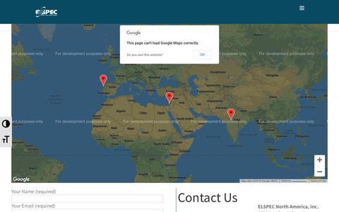 Screenshot of Contact Page elspec-ltd.com - Contact us via website elspec-ltd.com  | Elspec - captured Nov. 4, 2018